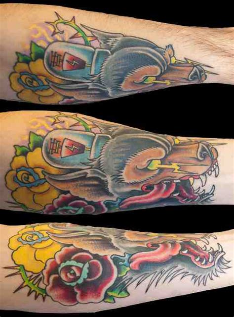 tattoo edmonton southside wolf w vacuum tube and roses forearm piece by noska