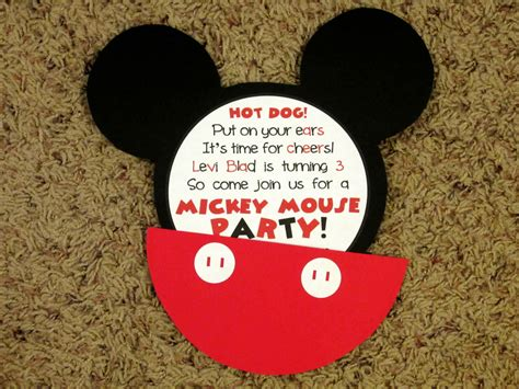 Handmade Mickey Mouse Invitations - handmade mickey mouse birthday invitations alanarasbach