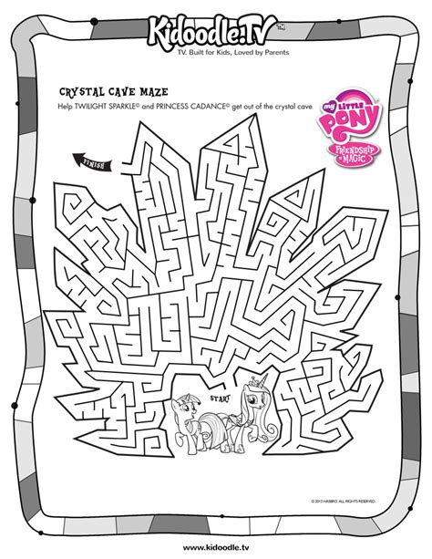 princess maze coloring page my little pony printable activities kids coloring