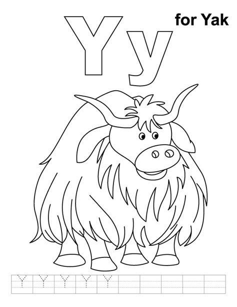 coloring pages for y y for yak coloring page with handwriting practice