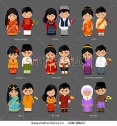 kids traditional costume laos cambodia myanmar stock