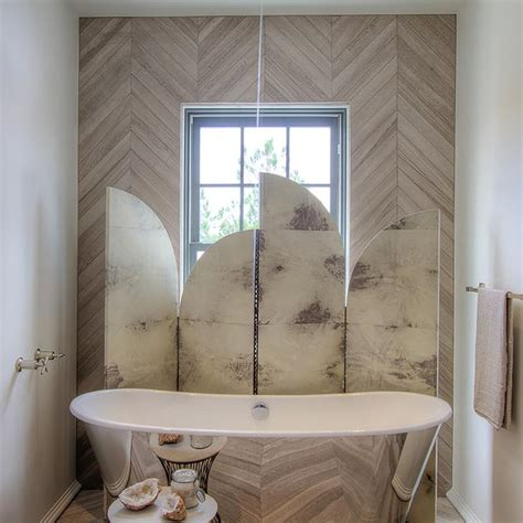 tile accent wall in bathroom tub nook with herringbone tiled accent wall contemporary