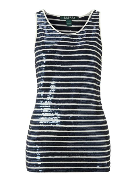 Tank Top Stripe by ralph sleeveless scoop neck sequin