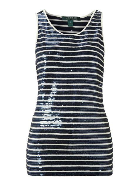 Tank Top Stripe by ralph sleeveless scoop neck sequin striped tank top in blue navy stripe lyst