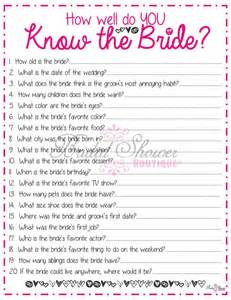 How Well Do You The Template by How Well Do You The Bridal Shower Pink