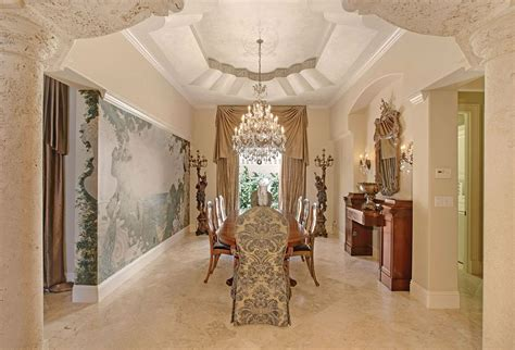 Dining Room Chandeliers For High Ceilings Mediterranean Dining Room With High Ceiling By The