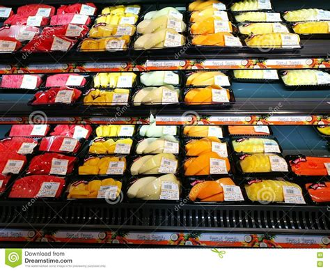 Ready Stock Heaven Cutting Food packed fresh fruit ready to eat supermarket editorial