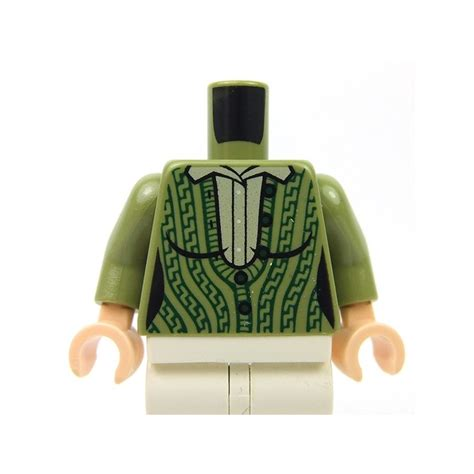 Lego Part Torso Shirt With Green Overalls Pattern lego acessories minifig olive green torso outline green cabled cardigan sweater with