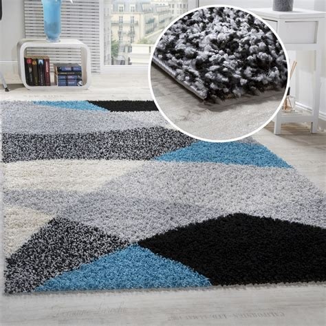 teppiche weich shaggy carpet high pile pile patterned in grey black