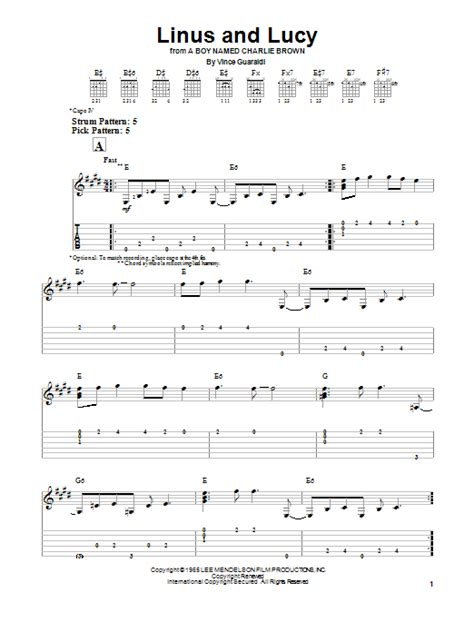 lyrics linus linus and by vince guaraldi easy guitar tab