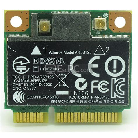atheros ar5b125 hp part 670036 001 wireless lan wi fi half