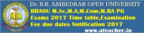 Dr Br Ambedkar Open Mba Distance Education 2015 by Braou Pg Exams 2017 Time Table Fee Due Dates Notification