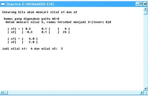 Aljabar Linear Dilengkapi Dengan Program Matlab program pascal penyelesaian sistem persamaan linear dengan metode invers nugikkool live