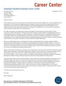 Cover Letter For Graduate Program by Graduate Student Exle Cover Letters