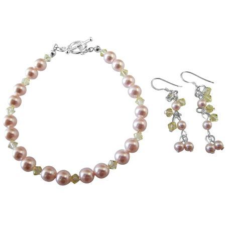 Handcrafted Earrings - handmade jewelry wedding bridal pink jonquil bracelet