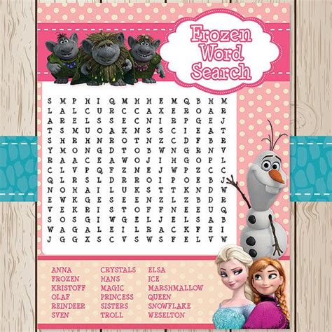 printable frozen word search printable frozen disney word search game by