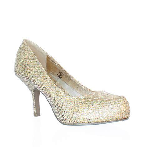 low kitten heel metallic glitter prom court
