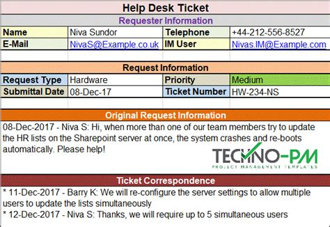 Help Desk Ticket Template Project Management Templates Help Desk Ticket Template Excel