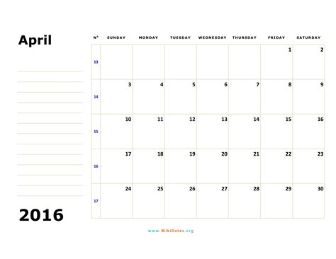 printable weekly calendar april 2016 april 2016 calendar wikidates org