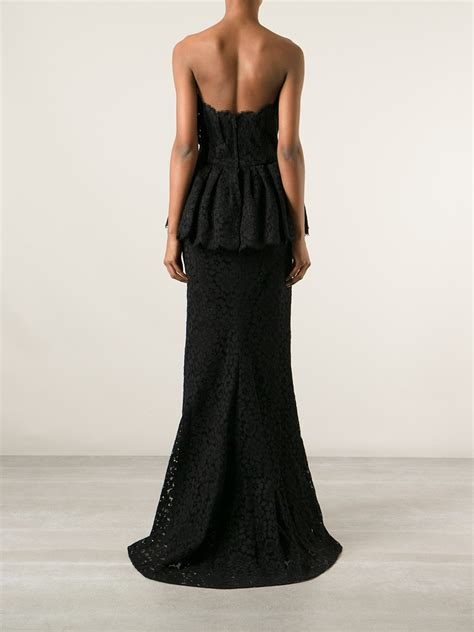 evening dresses dress with peplum hem and lace inserts dolce gabbana peplum lace evening dress in black lyst