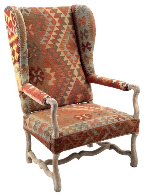 Aztec Chair by Nuloom Southwestern Aztec Navajo Dhurrie Kilim High Back Arm Chair Armchairs