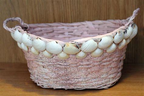 how to decorate with seashells basket craft petticoat seashell basket sea treasure by patrice