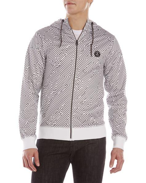 bench zip up hoodies bench white grey printed spike zip up hoodie in white