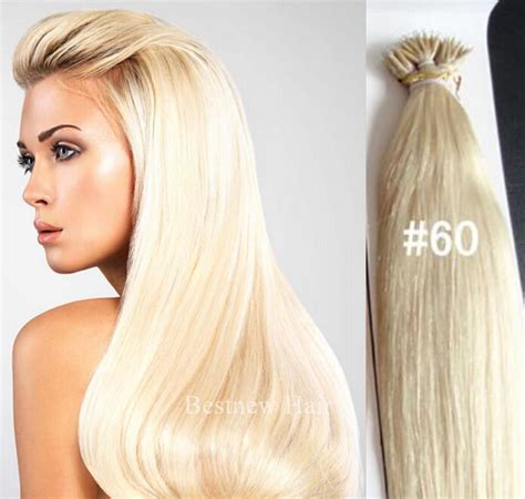 platinum blonde hair over 60 18 quot nano tips ring 60 1g 5agrade straight human hair