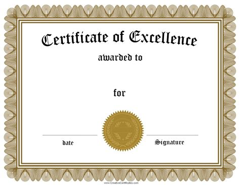 Certificate Of Excellence Template free customizable certificate of achievement