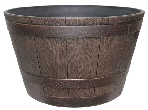 whiskey barrel planters brown whiskey barrel planter 187 home decorations insight