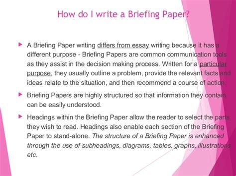 write  breifing paper