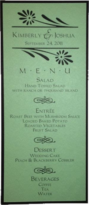 Tea Size Wedding Menu Template 1 Wedding Menu Size Template