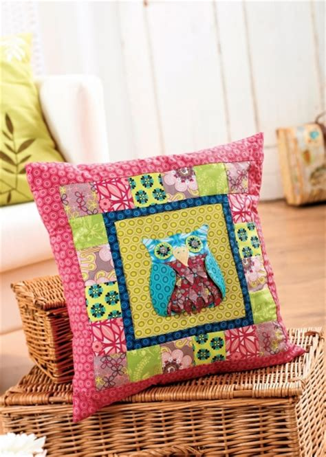 Patchwork Owl Cushion Pattern - owl block patchwork cushion free sewing patterns sew