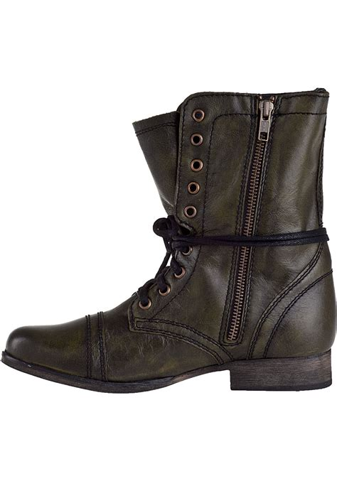 steve madden troopa combat boot green leather in