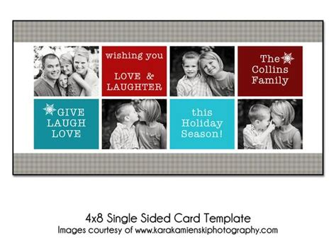 Christmas Card Template Bold Holiday 4x8 Single Sided Card 4x8 Card Templates