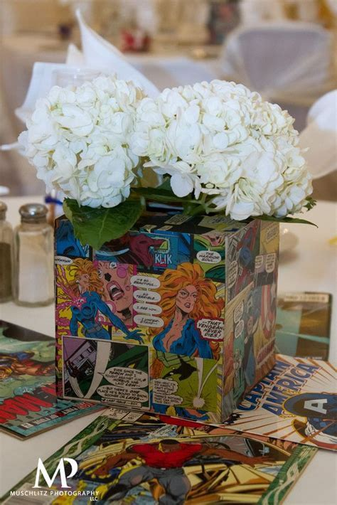 Comic Book Centerpieces   Marvel Comic Book Wedding Ideas