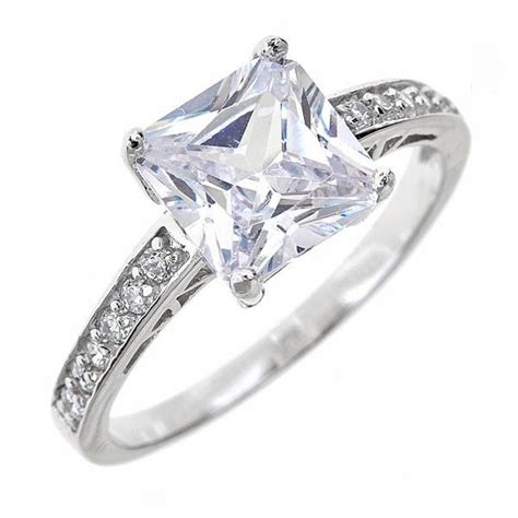 princess cut engagement ring cz