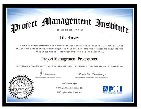 PMP Trainer Credential   Lily Harvey