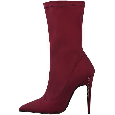 womens ankle boots stretch lycra stiletto high
