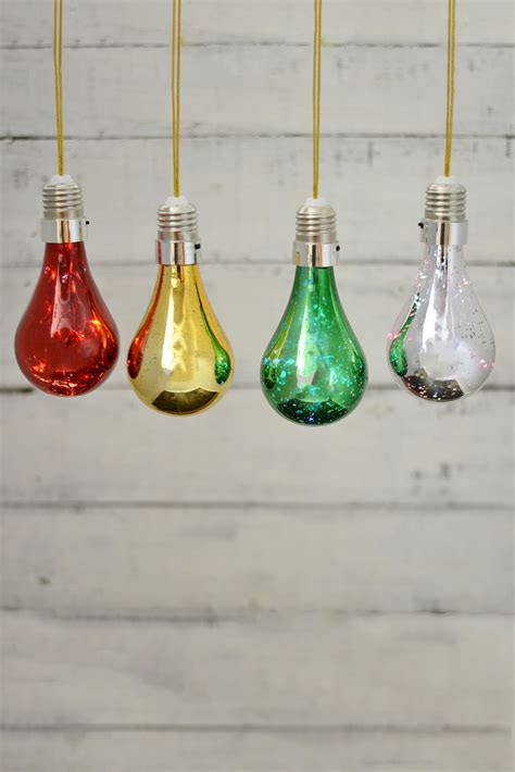 4 led mercury glass light bulbs 5 5 quot christmas decorations