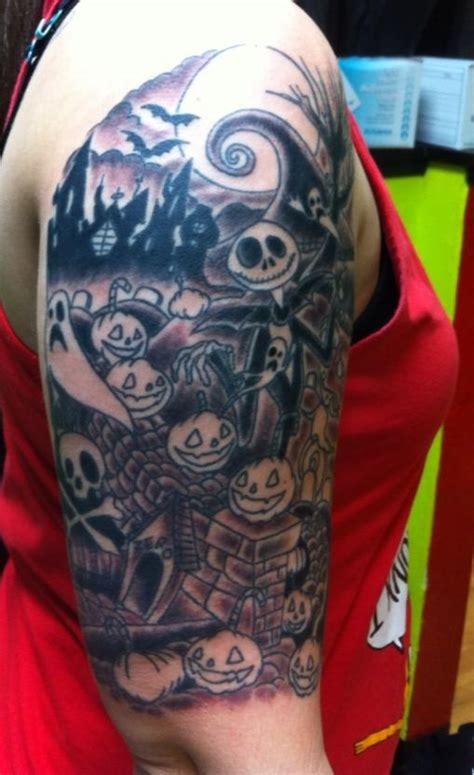 tim burton tattoo sleeve my nightmare before tim burton half sleeve