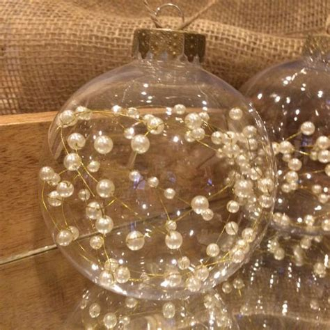 three beautiful clear christmas ornaments beaded pearls