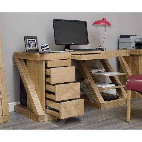 z large office pc computer desk solid oak modern designer