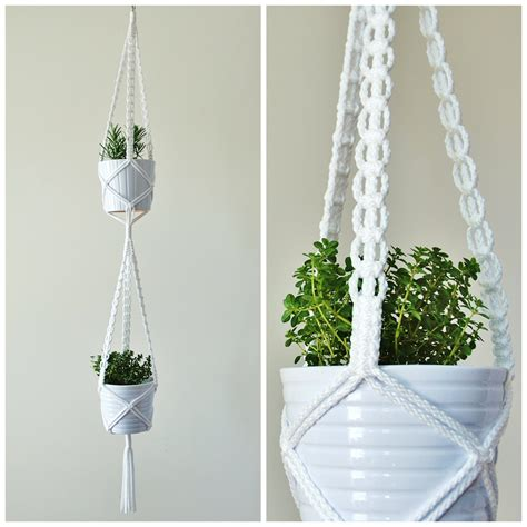 Macrame Hanging Planter - macrame plant hanger two tiered hanging planter