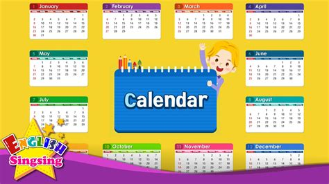 calendars with children vocabulary calendar months and days learn
