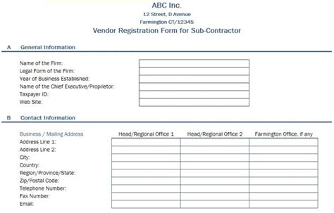 Free Data Collection Templates On Excel Vendor Registration Form Vendor Information Form Template Excel