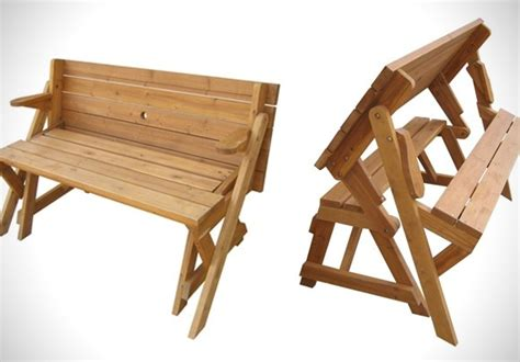 bench that turns into a table foldable picnic table turns into a garden bench has potential but i m not sure that