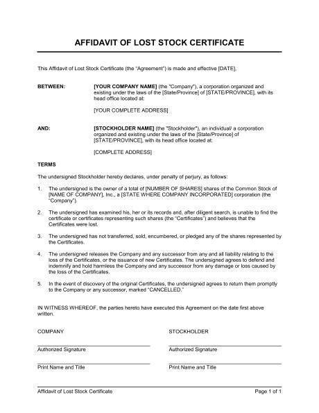 certification letter of lost affidavit of lost stolen or destroyed stock certificate