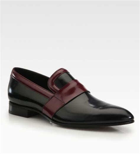coloured loafers prada runway bi colored loafers in black for black
