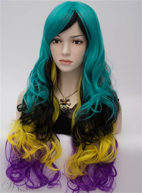 colored wigs harajuku fashion rainbow bright colored wavy wig